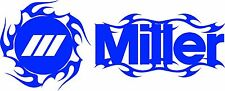MILLER WELDER FLAMES DIE CUT DECAL STICKER - SET OF 2 - BLUE