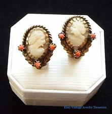 Vintage Carved Shell Cameo Coral Gold Tone Clip Earrings
