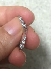 Diamond Leverback Dangle Earrings 3 Stone Genuine 10k white gold