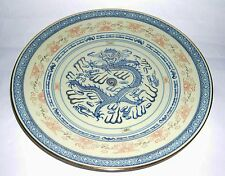 Chinese Pottery Hand Painted - Dragon Image Blue And Pink Plate With Gilding.