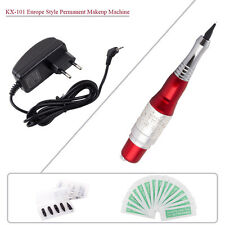 Red & Silver KX-101 Permanent Makeup Machine Pen Tattoo Kit Needles Tips Supply
