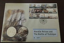 QEII FDC PNC COIN COVER 2005 BATTLE OF TRAFALGAR HORATIO NELSON £5 Coin X2 B/UNC