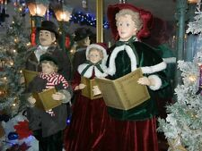 BEAUTIFUL VICTORIAN GIANT 37 INCH 4 PIECE DELUXE CAROLER SET CHRISTMAS RARE