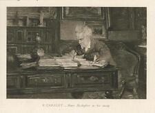 ANTIQUE HENRI ROCHEFORT IN HIS STUDY WRITING DESK CHAIR PORTRAIT SMALL ART PRINT