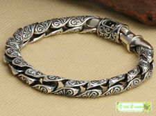 harly Bali link genuine solid s925 Sterling silver biker MENS BRACELET 49g 8.3""