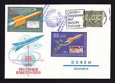 German 25th Anniversary Deutscher Raketen-Flug cover to Duren Rocket Mail Brief