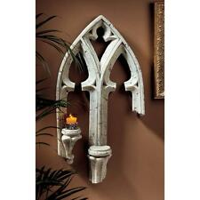 European Gothic Architecture Double Ledge Candle Holder Wall Fragment Sconce