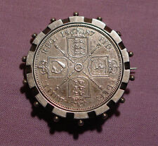 1887 QUEEN VICTORIA BROOCHED FLORIN - Nice Unusual Example