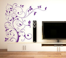 Wall Stickers Floral Purple Vine TV LCD Background Design LED DIY Decal