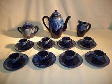 Service à café en grès vernissé bleu nuit avec coulure Cafetière ... Lebret ?
