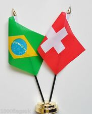 Brazil & Switzerland Double Friendship Table Flag Set