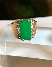 Vintage Green Jade And Diamonds In 18k Gold Ring