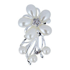 Silver Plated Prom Girl Brooch Pin Bouquet Flower Crystal Gem Jewelry For Women