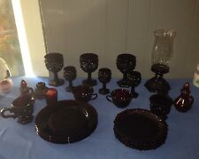 Vintage 25pc Avon Cranberry Cape Cod 1876 Dinner Set Goblets/Dishes/Plates
