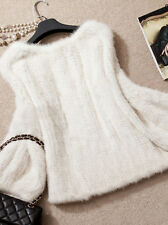 100% Domestic Knitted Mink Fur Pullover Poncho Jacket Coat Cape Sweater Best Top