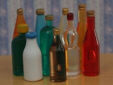 Ten Assorted Bottles (Set 2), Dolls House Miniatures 1.12 Scale Drink Bottle's