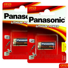 2 x Panasonic Lithium CR123 batteries 3V CR123A CR17345 Camera Photo EXP:2026