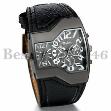 Mens Large Face Dual Time Quartz Analog Wide Leather Wrist Military Sport Watch