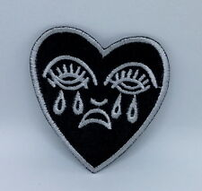 Crying Heart Embroidered  - Iron On patch Black White sew on patch 6.5x5.5 cm