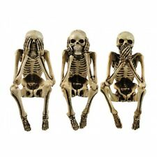 3 WISE SKELETONS, NEMESIS NOW FIGURES SEE NO EVIL, HEAR NO EVIL, SPEAK NO EVIL