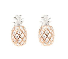 8MM ROSE GOLD PLATED 2 TONE SILVER 925 HAWAIIAN PINEAPPLE POST STUD EARRINGS