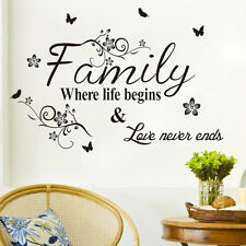 1PC Fashion Family Wall Sticker Quote Words Decal Vinyl Decor Mural Removable