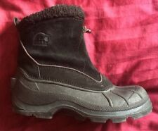 SOREL Crestwind  Black Leather Zippered Winter Boots Womens 7