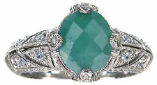 Judith Ripka 1.80 Ct tw Emerald Solitare Sterling Silver Ring Size 7