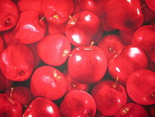 APPLE REALISTIC APPLES FRUIT RED COTTON FABRIC FQ