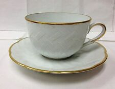 "BERNARDAUD ""BAUDELAIRE"" TEACUP & SAUCER WHITE PORCELAIN  LIMOGES FRANCE NEW"