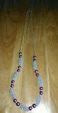 Handmade Beaded Necklace Purple Glass Pearl Beads, Diamante, Silver Gizmo Beads