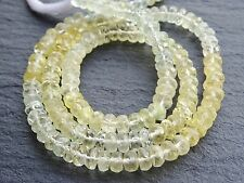 "HAND FACETED AQUAMARINE AND HELIODOR RONDELLES, 4.8mm, 16"", 120+ beads"