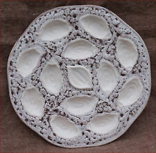 "Orfinox French Large Oyster Dish Platter Faience Vintage Ø 14"" 3/4"