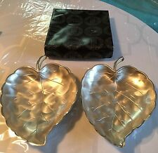 Vintage Set of  Pearlized Silverware Leaf Dishes by Moben