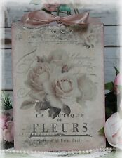 "New! ""FLEURS"" Vintage Shabby~Countr ~Cottage~Chic style~Wall/Door Décor  Sign"