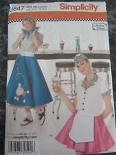SIMPLICITY SEWING PATTERN SZ 6 8 10 POODLE SKIRT PETTICOAT SODA SHOP SHIRT APRON