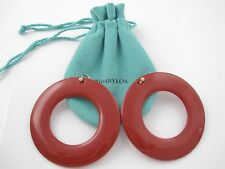 Tiffany & Co 18K Yellow Gold Peretti Sevillana Red Lacquer Round Circle Earrings