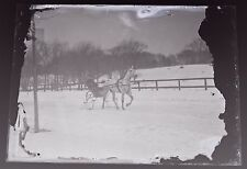 Horse Drawn Sleigh~Late 1800's/Early 1900's Glass Plate Negative