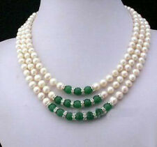 7-8MM Natural White Akoya Cultured Pearl & Green Jade Hand Knotted necklace