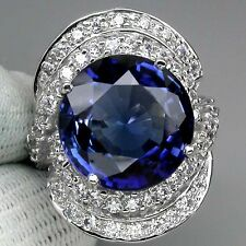 ENCHANTING AAA KASHMIR BLUE SAPPHIRE MAIN STONE 11.70 CT. 925 SILVER RING SZ 7