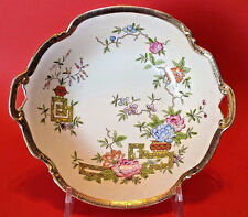 Nippon Noritake Ikebana Flowered Serving Bowl With Gilded Handles - Hand Painted