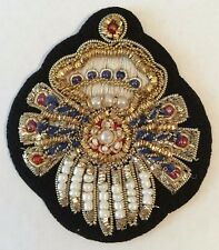 Vintage Gold Bullion Patch with Beads And Pearls