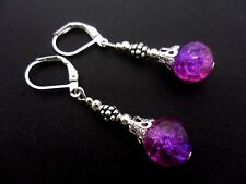 A PAIR OF  PURPLE/PINK CRACKLE GLASS BEAD  LEVERBACK HOOK EARRINGS. NEW.