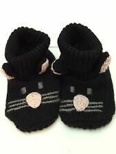 BABY GAP KNIT (3-6M) Tiny Toddler Black Cat Booties Boys Girls Shoes Size 3-6 M