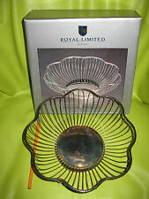 """9"""" NEW Royal Limited Silver Plate Wire Scalloped Edge Basket Fruit Bowl"""