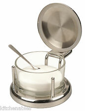 ALTON BROWN Good Eats Stainless & Glass SALT Keeper BOX DISH SERVER CELLAR