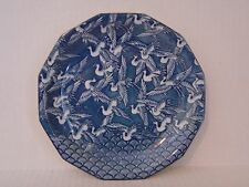 VINTAGE TAKAHASHI BLUE AND WHITE 1000 CRANE PORCELAIN PLATE MADE IN JAPAN SIGNED