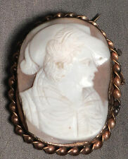 Antique Italian Hand Carved Shell Cameo Gold Mount Brooch Victorian Lady HAT