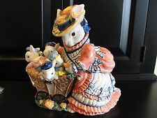 "FITZ AND FLOYD COOKIE JAR MOTHER BUNNY W/ BABY CARRIAGE 11 1/2"" X 9 1/2"" NO BOX"