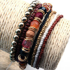 New western Bohemian beaded Pack 7pcs 1set woman stretch bracelet bangle
